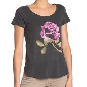 Lucky Brand Rose Print Scoop Neck Tee
